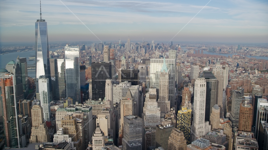 Freedom Tower and Lower Manhattan skyscrapers, New York City Aerial Stock Photo AX120_125.0000225F | Axiom Images
