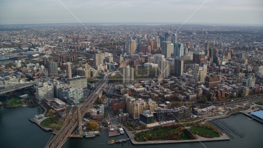 Downtown Brooklyn, New York City in Autumn Aerial Stock Photos | AX120_129.0000114F