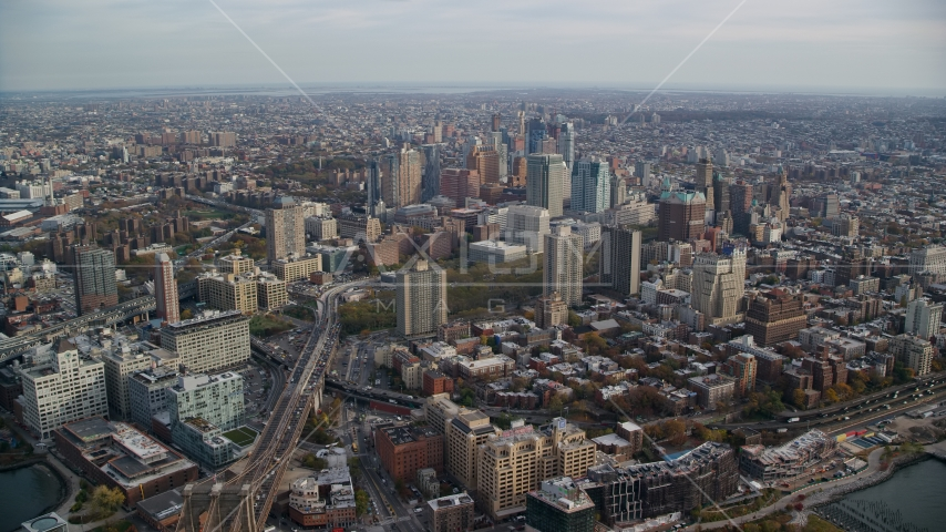 Skyscrapers in Brooklyn, New York City Aerial Stock Photos | AX120_129.0000281F