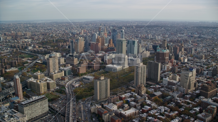 The downtown area of Brooklyn in Autumn, New York City Aerial Stock Photos | AX120_130.0000184F