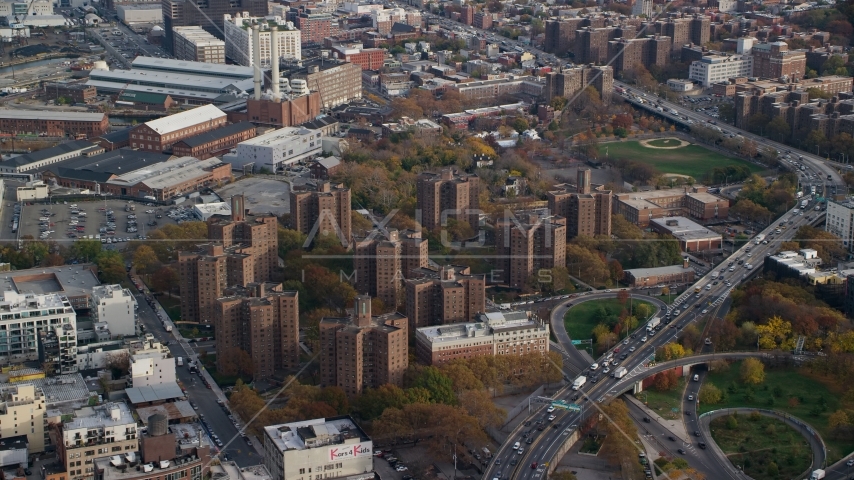 Public housing apartment buildings in Autumn, Brooklyn, New York City Aerial Stock Photo AX120_131.0000093F | Axiom Images