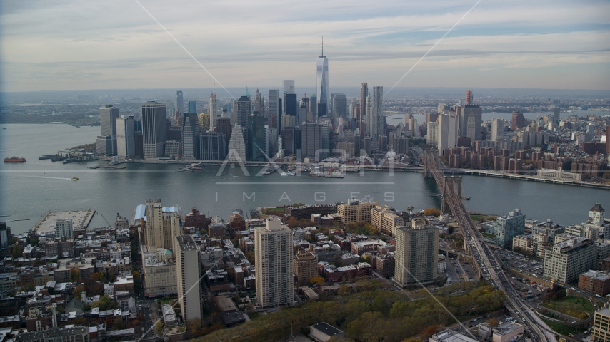 Lower Manhattan skyline and the East River seen from Brooklyn, New York City Aerial Stock Photos | AX120_133.0000080F