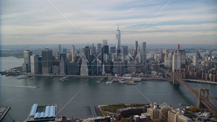 Lower Manhattan and the East River in Autumn, New York City Aerial Stock Photos | AX120_134.0000253F