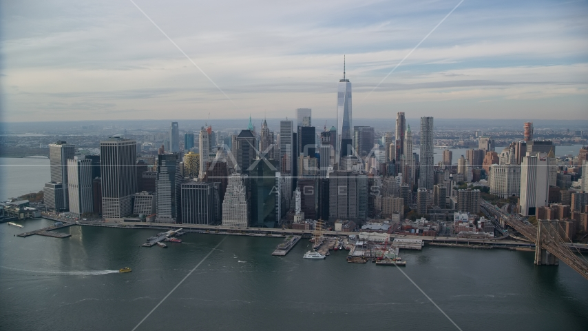 Downtown skyscrapers in Autumn, Lower Manhattan, New York City Aerial Stock Photos | AX120_135.0000225F