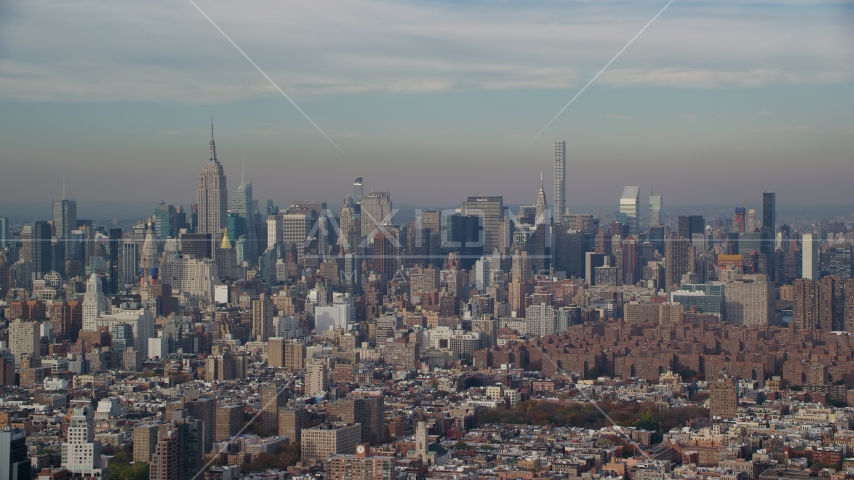 Skyscrapers in Midtown Manhattan in Autumn, New York City Aerial Stock Photos | AX120_137.0000077F