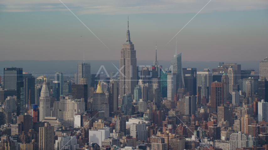 The Empire State Building in Midtown Manhattan, New York City Aerial Stock Photos | AX120_139.0000076F