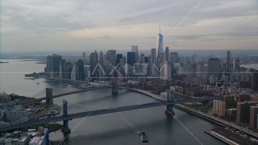 Manhattan Bridge, Brooklyn Bridge, East River, and Lower Manhattan, New York City Aerial Stock Photos | AX120_143.0000065F