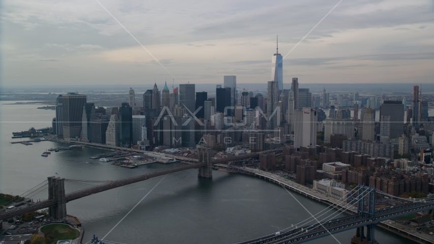 The Brooklyn Bridge and Lower Manhattan, New York City Aerial Stock Photos AX120_144.0000104F | Axiom Images