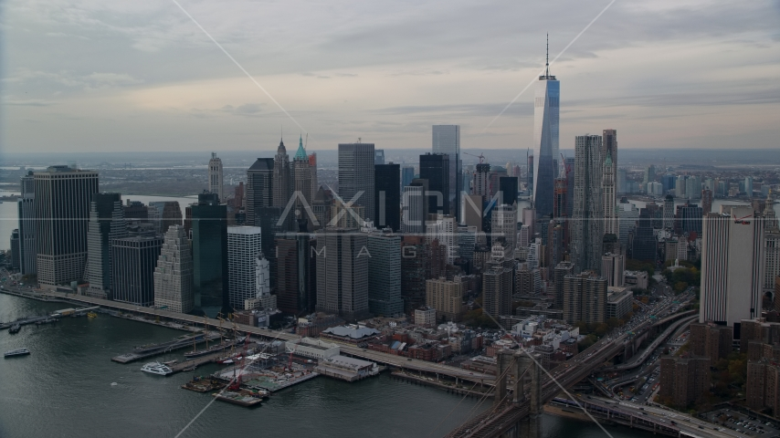 Lower Manhattan skyscrapers on the east side of downtown, New York City Aerial Stock Photos | AX120_146.0000059F