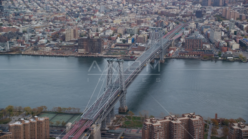 The Williamsburg Bridge in Autumn, New York City Aerial Stock Photo AX120_152.0000321F | Axiom Images