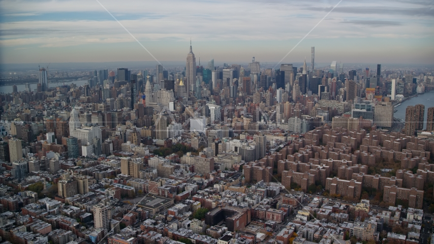 Midtown Manhattan seen from East Village in New York City Aerial Stock Photos | AX120_154.0000074F
