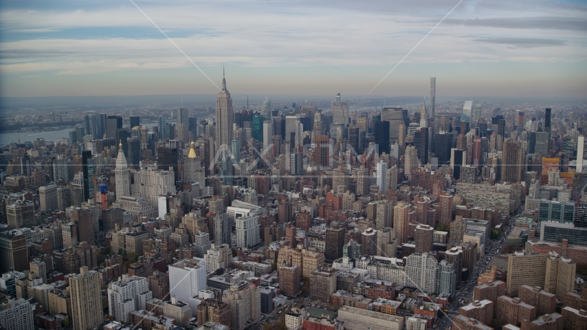 Midtown Manhattan skyscrapers in New York City Aerial Stock Photos AX120_155.0000256F