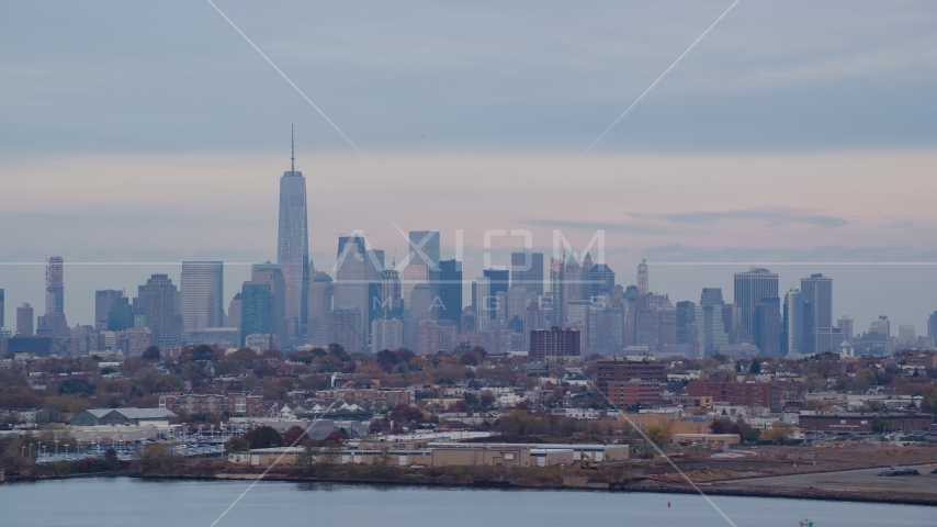 The Lower Manhattan skyline at sunset in Autumn, New York City Aerial Stock Photo AX121_003.0000059F | Axiom Images