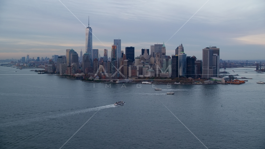 Battery Park and the Lower Manhattan skyline at Sunset, New York City Aerial Stock Photos | AX121_017.0000111F