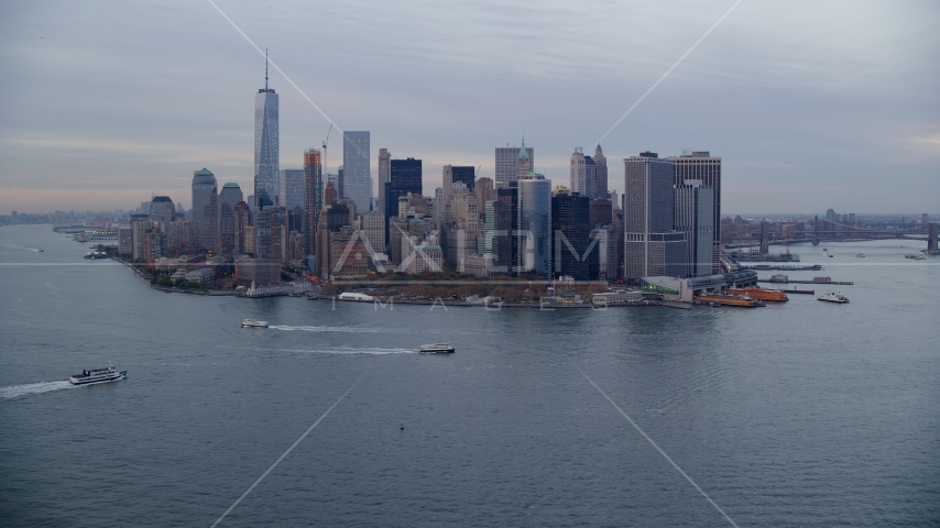 Skyline of Lower Manhattan at sunset, New York City Aerial Stock Photos | AX121_018.0000073F