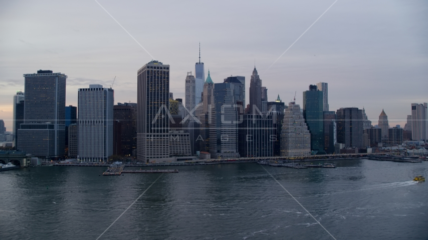 Lower Manhattan riverfront skyline at sunset, New York City Aerial Stock Photos AX121_021.0000157F | Axiom Images