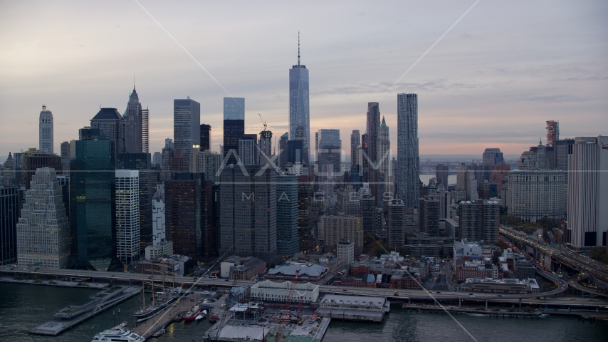 Skyscrapers in Lower Manhattan at sunset, New York City Aerial Stock Photo AX121_024.0000131F | Axiom Images