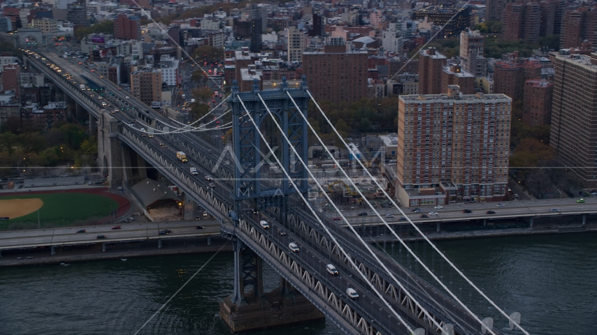 The Manhattan Bridge at sunset in New York City Aerial Stock Photos | AX121_025.0000063F