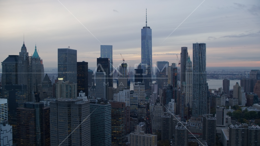 The skyscrapers in Lower Manhattan at sunset in New York City Aerial Stock Photos | AX121_032.0000112F