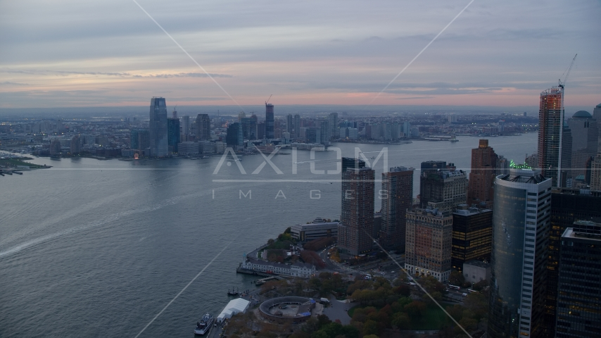 Downtown Jersey City at sunset seen from Lower Manhattan, New York City Aerial Stock Photos AX121_035.0000051F