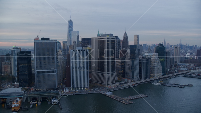 Riverfront skyscrapers beside the Hudson River at sunset, Lower Manhattan, New York City Aerial Stock Photos | AX121_036.0000087F