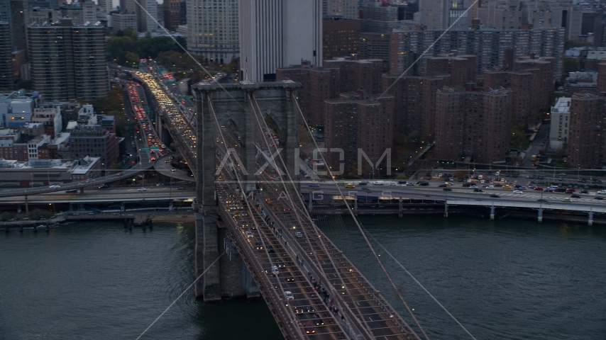 Downtown side of the Brooklyn Bridge at sunset in New York City Aerial Stock Photo AX121_040.0000039F | Axiom Images