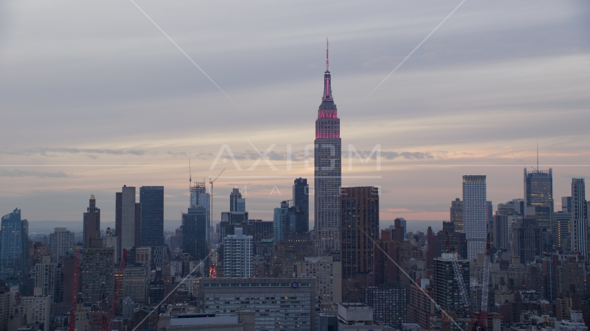 The Empire State Building at sunset in New York City Aerial Stock Photos | AX121_050.0000054F