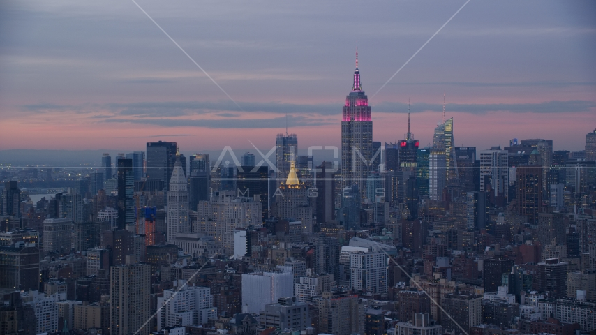 Empire State Building and Midtown skyscrapers at sunset in Midtown, New York City Aerial Stock Photos | AX121_077.0000073F