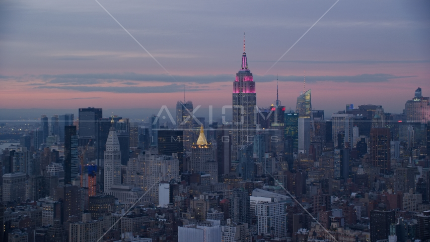 Empire State Building at Midtown high-rises at sunset in Midtown, New York City Aerial Stock Photos | AX121_077.0000233F