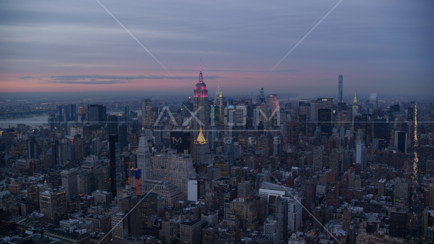 Midtown high-rises and the Empire State Building at sunset in New York City Aerial Stock Photos AX121_079.0000199F