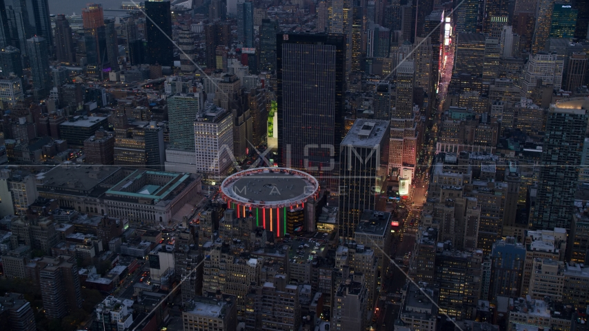 Madison Square Garden at sunset in Midtown Manhattan, New York City Aerial Stock Photos | AX121_084.0000063F
