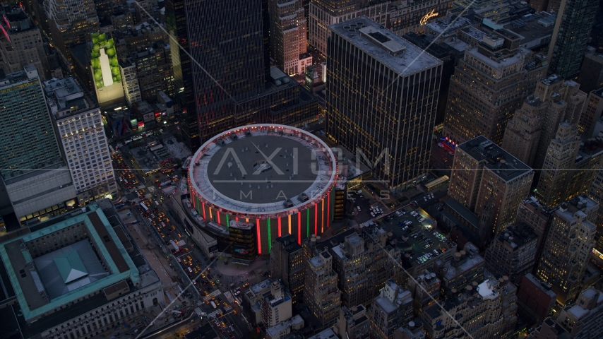 Madison Square Garden at sunset in Midtown, New York City Aerial Stock Photos | AX121_085.0000286F