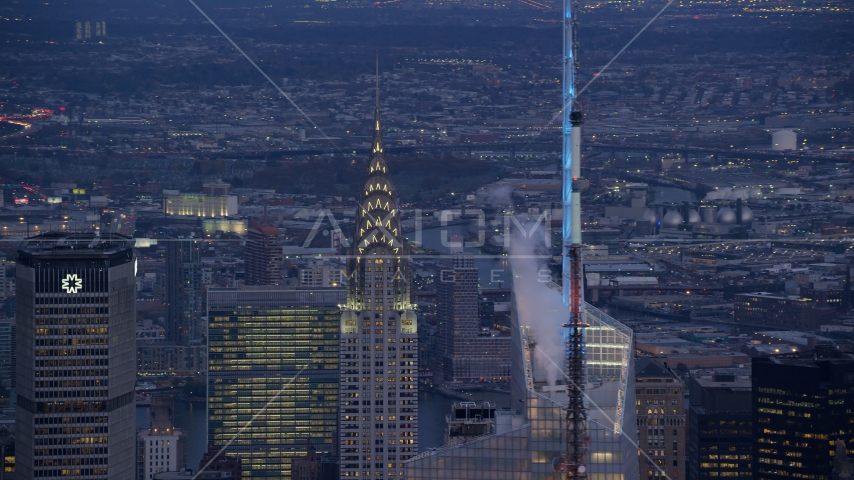 The Chrysler Building at sunset in Midtown Manhattan, New York City Aerial Stock Photos | AX121_089.0000311F
