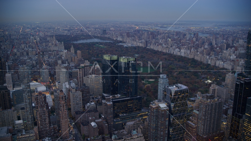 Time Warner Center and Central Park at sunset in New York City Aerial Stock Photos AX121_091.0000084F | Axiom Images