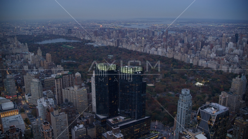Time Warner Center towers and Central Park at sunset in New York City Aerial Stock Photos AX121_091.0000268F | Axiom Images