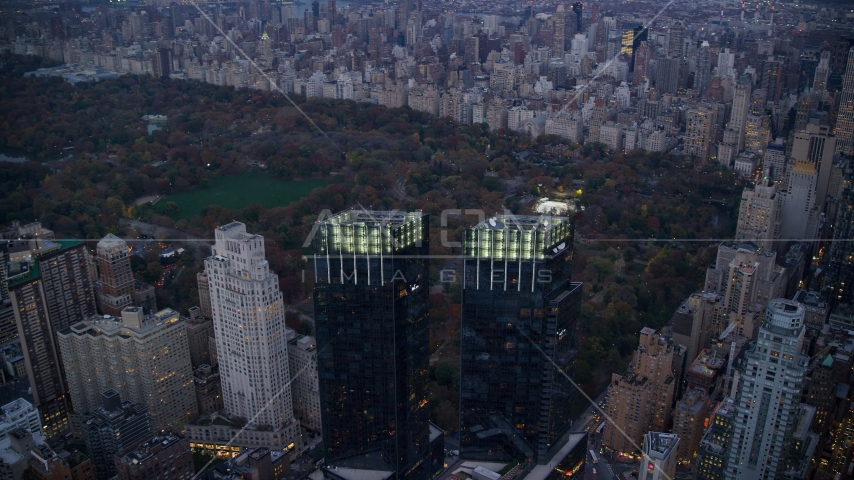 The Time Warner Center and famous Central Park at sunset in New York City Aerial Stock Photo AX121_092.0000125F | Axiom Images