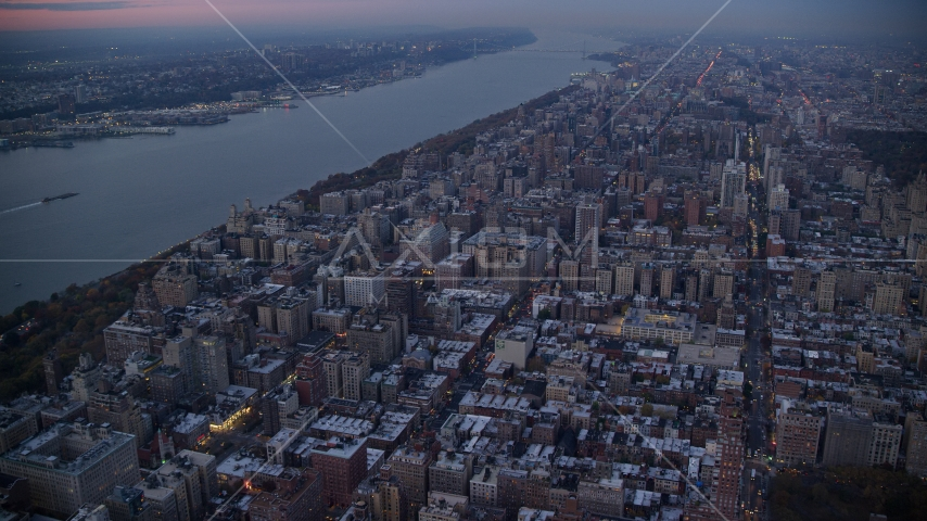 Apartment complexes on the Upper West Side at sunset in New York City Aerial Stock Photos | AX121_094.0000139F