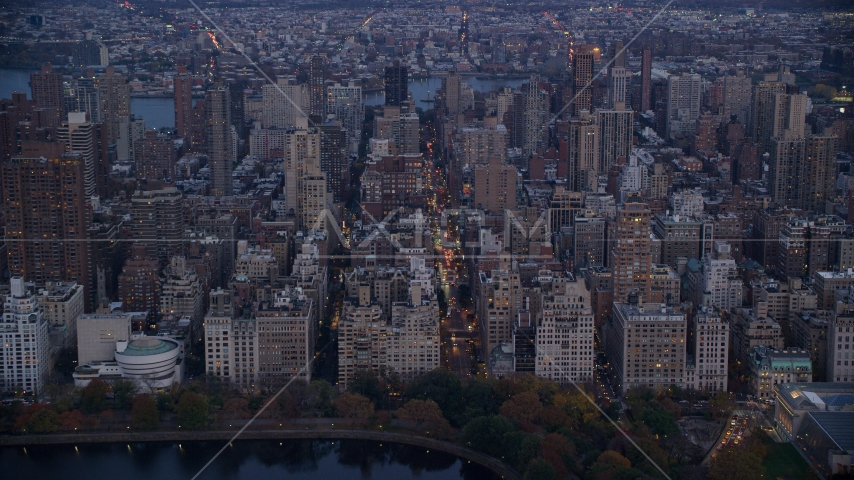 Upper East Side apartment buildings at sunset in New York City Aerial Stock Photos | AX121_097.0000043F
