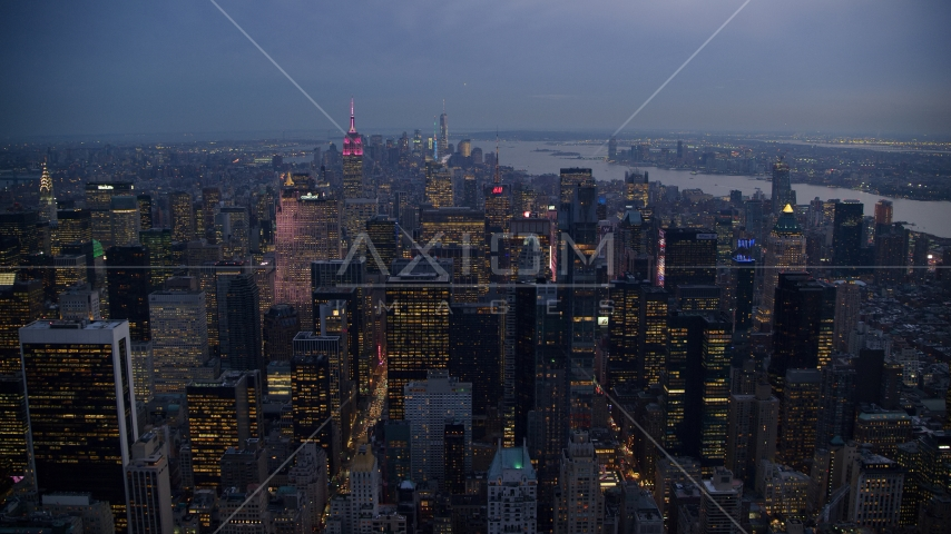 Tall Midtown Manhattan skyscrapers at sunset in New York City Aerial Stock Photos | AX121_101.0000263F