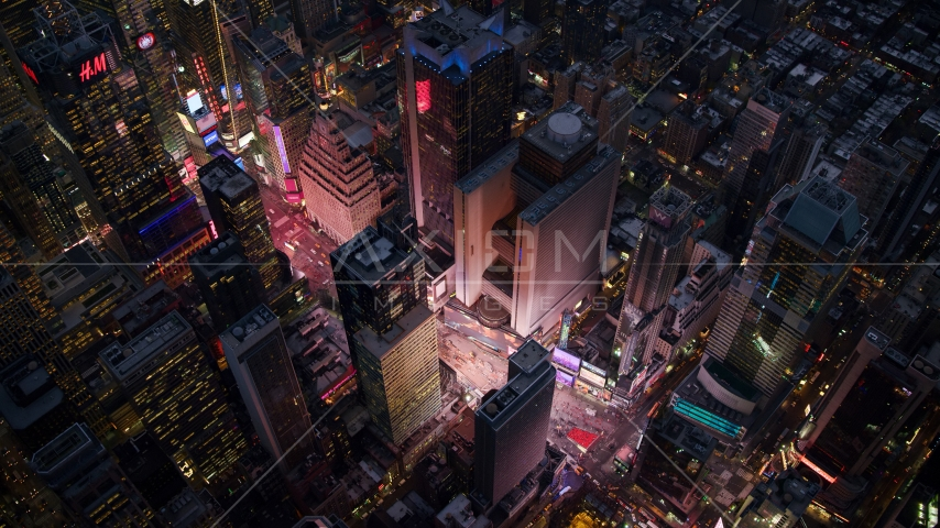 A bird's eye view of Times Square at sunset in Midtown, New York City Aerial Stock Photos | AX121_106.0000079F