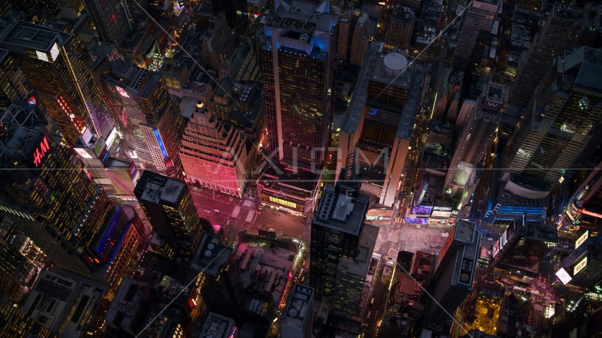 A bird's eye of Times Square at sunset in Midtown Manhattan, New York City Aerial Stock Photos | AX121_106.0000271F