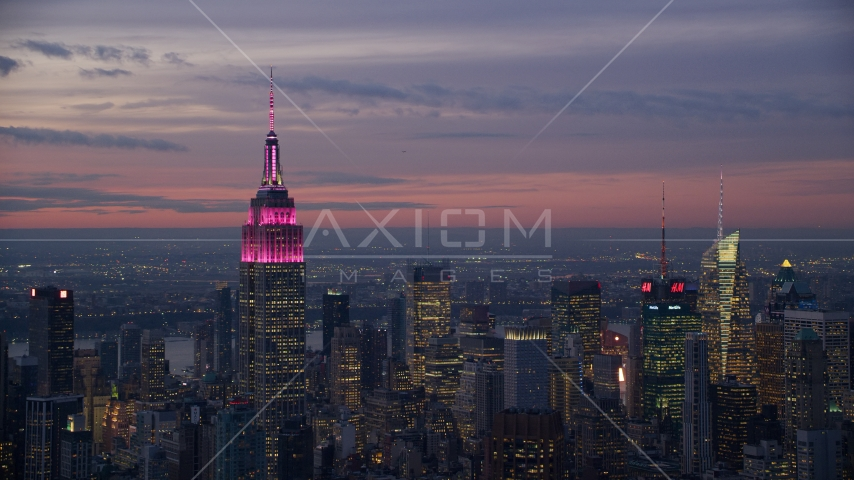 Empire State Building and Midtown skyscrapers at sunset in New York City Aerial Stock Photos AX121_113.0000150F