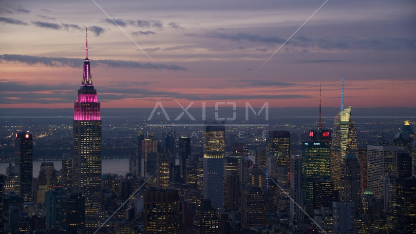 The Empire State Building and Midtown high-rises at sunset, New York City Aerial Stock Photo AX121_114.0000092F | Axiom Images