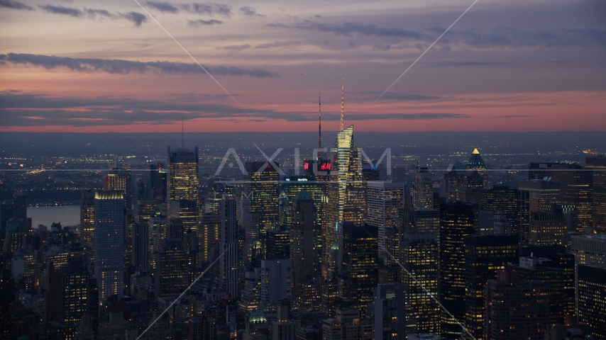 Tall Midtown Manhattan towers at sunset in New York City Aerial Stock Photos | AX121_115.0000025F