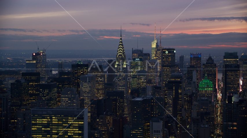 The Chrysler Building and Midtown high-rises at sunset in New York City Aerial Stock Photo AX121_117.0000133F | Axiom Images