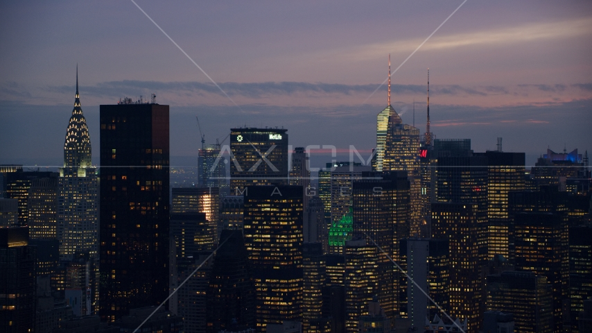 Tall Midtown skyscrapers at sunset in New York City Aerial Stock Photos | AX121_118.0000045F