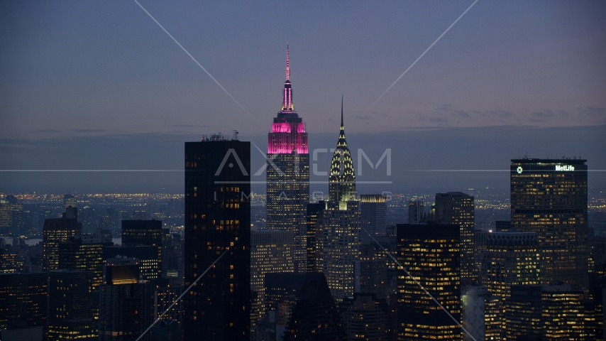 The Empire State and Chrysler Buildings at sunset in Midtown, New York City Aerial Stock Photos AX121_119.0000221F | Axiom Images