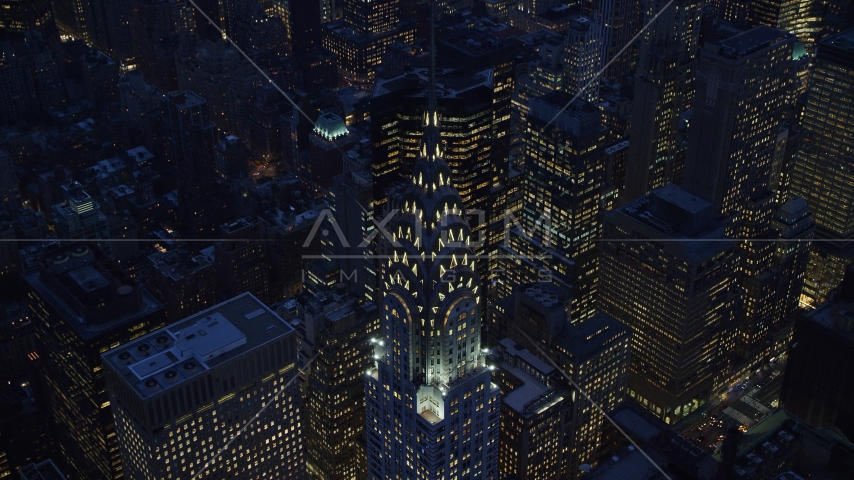 The Chrysler Building at sunset in Midtown Manhattan, New York City Aerial Stock Photo AX121_126.0000034F | Axiom Images