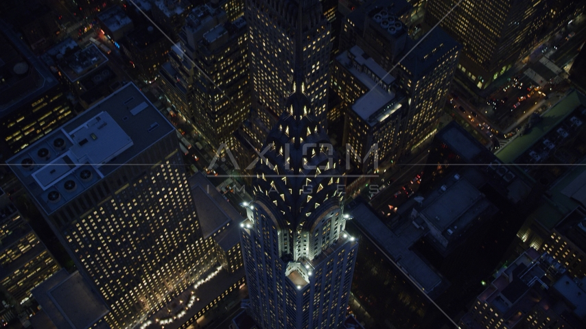 A bird's eye view of Chrysler Building at sunset in Midtown Manhattan, New York City Aerial Stock Photos AX121_126.0000182F