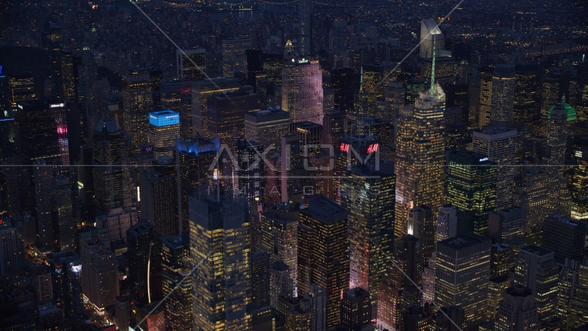 Midtown Manhattan skyscrapers at night in New York City Aerial Stock Photos | AX121_131.0000079F
